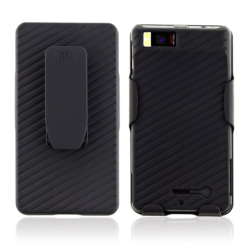 INSTEN Black Snap-on Phone Case Cover/ Holster Combo for Motorola Droid X2