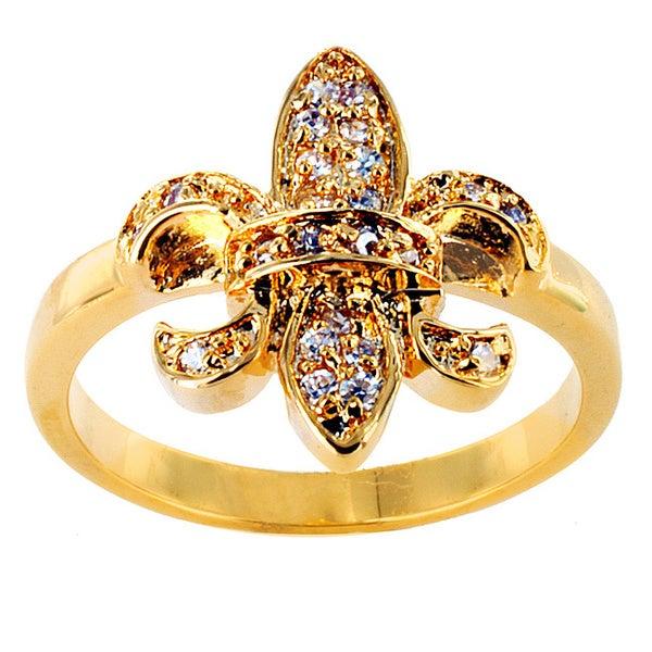 Goldtone Cubic Zirconia Accent Fleur de Lis Ring