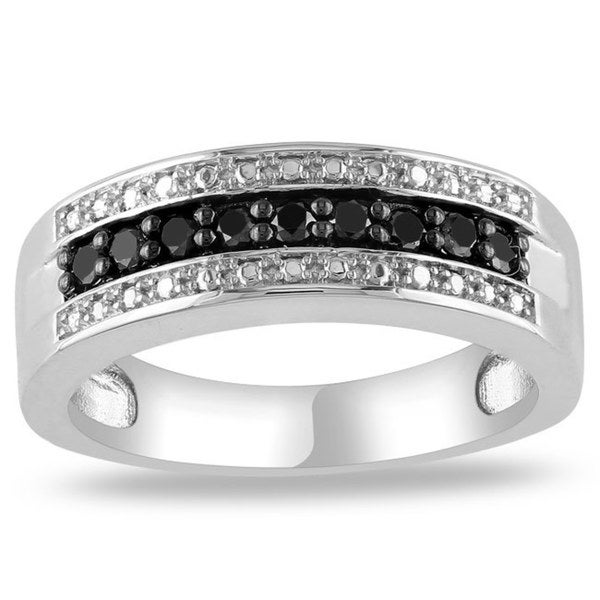 Haylee Jewels Sterling Silver 1/4 CT TDW Round Black Diamonds Ring