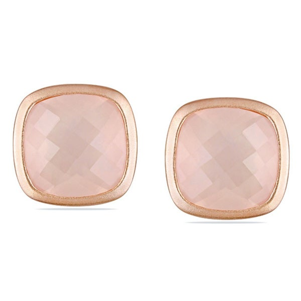 Miadora Pink Silver 21 CT TGW Cushion-cut Rose Quartz Stud Earrings