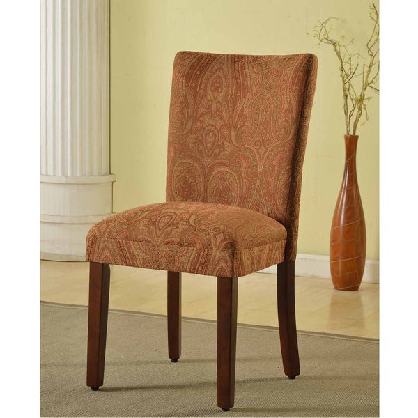 HomePop Classic Parson Red/ Gold Damask Fabric Dining Chair