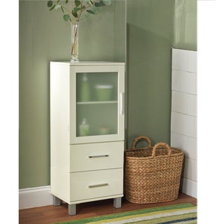 Simple Living Frosted Pane 2 Drawer Linen Cabinet