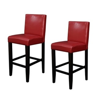 Villa Faux Leather Red Counter Stools (Set of 2)
