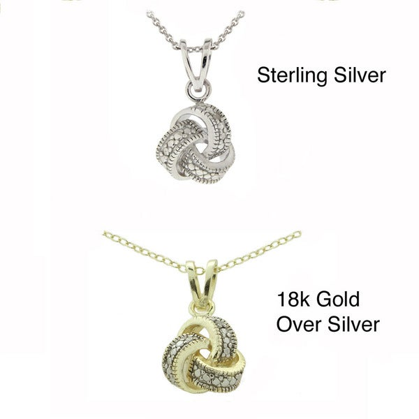 Sterling Silver 18-inch White Diamond Accented Knot Necklace