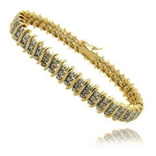Finesque 14k Gold Overlay 1/4 ct TW Diamond Three Row 'S' Bracelet