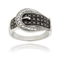 DB Designs Sterling Silver with Black Diamond Accent Buckle Ring