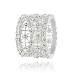 DB Designs Sterling Silver Diamond Accent Lace Design Ring