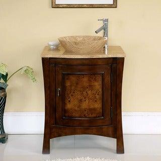 Silkroad Exclusive 26-inch Travertine Stone Top Bathroom Vessel Vanity Lavatory Single Sink Cabinet