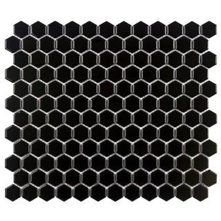 SomerTile Victorian Hex 1-in Black Porcelain Mosaic Tile (Pack of 10)