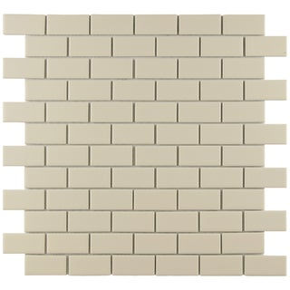 SomerTile Victorian Subway 1x2-in Matte Biscuit Porcelain Mosaic Tile (Pack of 10)