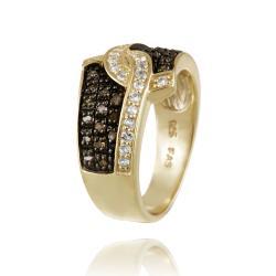 Glitzy Rocks 18k Gold over Silver 1/3ct TDW Champagne Diamond and White Topaz Ring