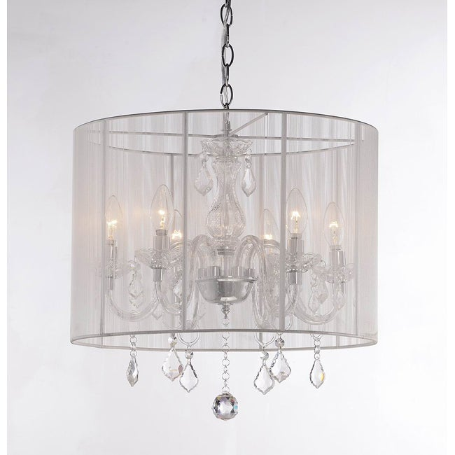 Emma white Shade and Iron Base Crystal Chandelier