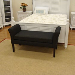 Decorative Bench Textured Black with Taupe Chenille Tweed