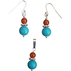 Beadwork By Julie Nevada Turquoise/ Red Aventurine Earrings and Pendant Set