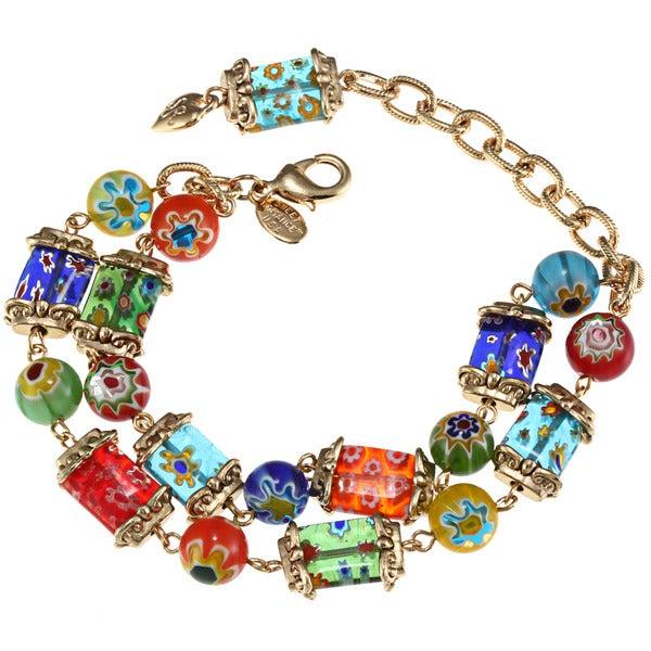 Sweet Romance Goldtone Millefiori Candy Squares Bracelet