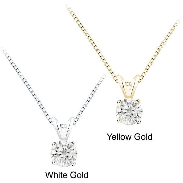 Auriya 14k Gold 1.25ct TDW Round Diamond Solitaire Necklace (F-G, I1)