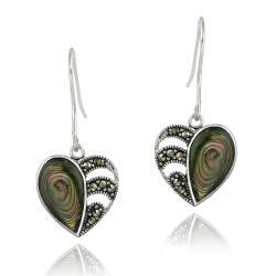 Glitzy Rocks Sterling Silver Marcasite and Abalone Heart Dangle Earrings