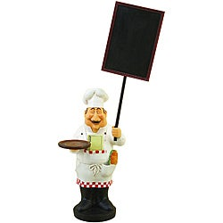 Large French Chef Figurine with Welcome Chalkboard Kitchen Decor