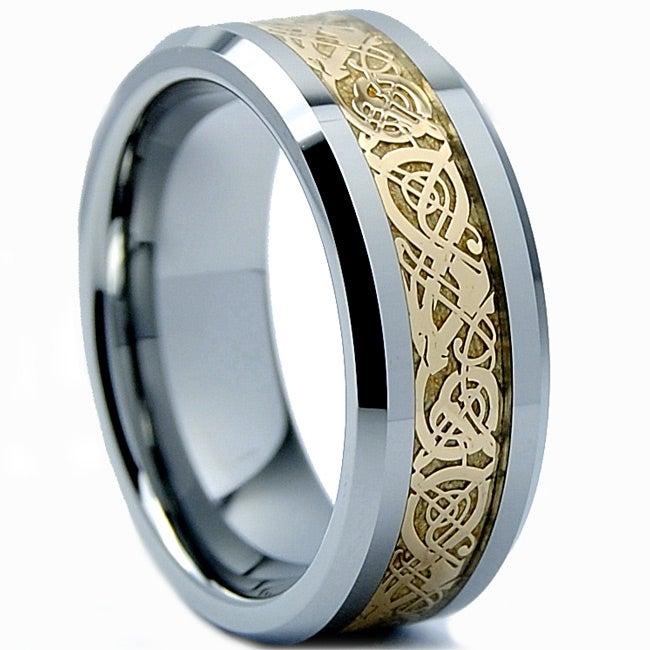Men's Tungsten Carbide Gold Dragon Design Ring (8 mm)