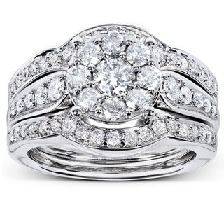 Annello 14k White Gold 1ct TDW 3-piece Diamond Bridal Rings Set (H-I, I1-I2) with Bonus Item
