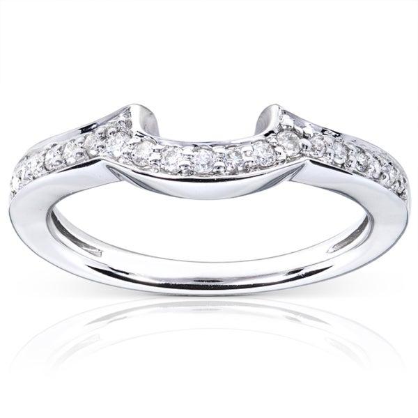 Annello 14k White Gold 1/6ct TDW Diamond Curved Wedding Band (H-I, I1-I2)