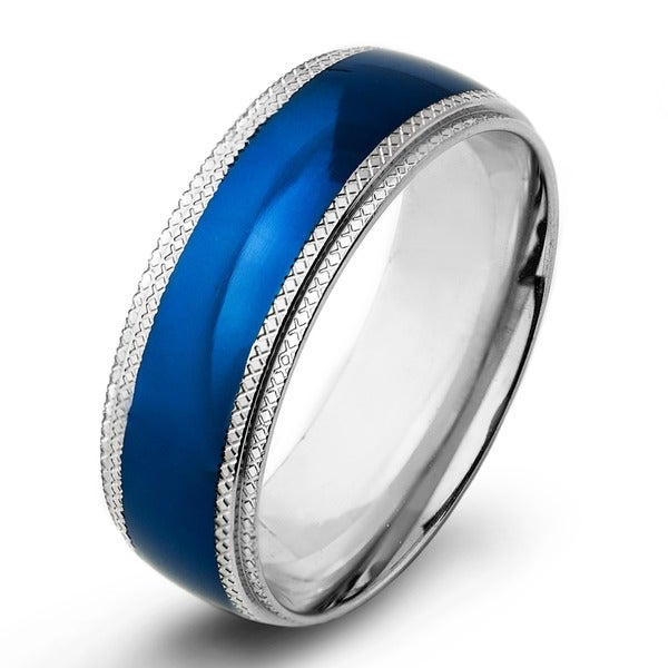 Blue-plated Stainless Steel Men's Ridged Edge Wedding Band