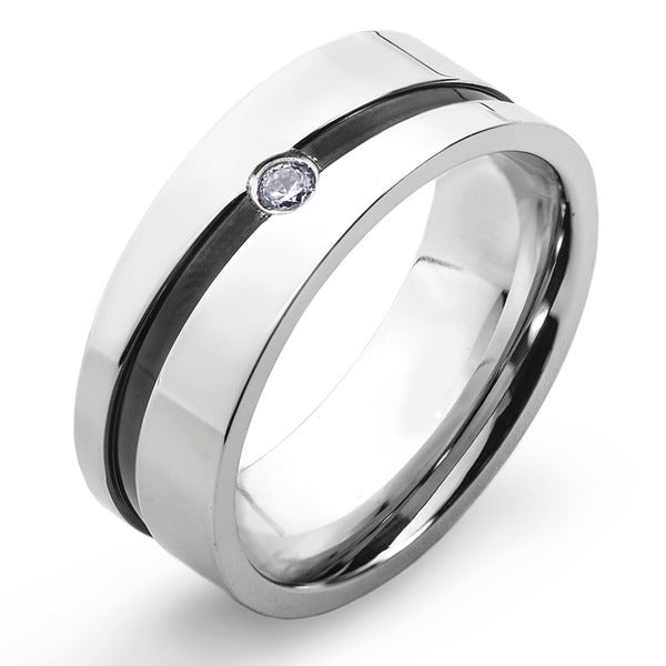 Stainless Steel Cubic Zirconia Men's Black Stripe Wedding Band