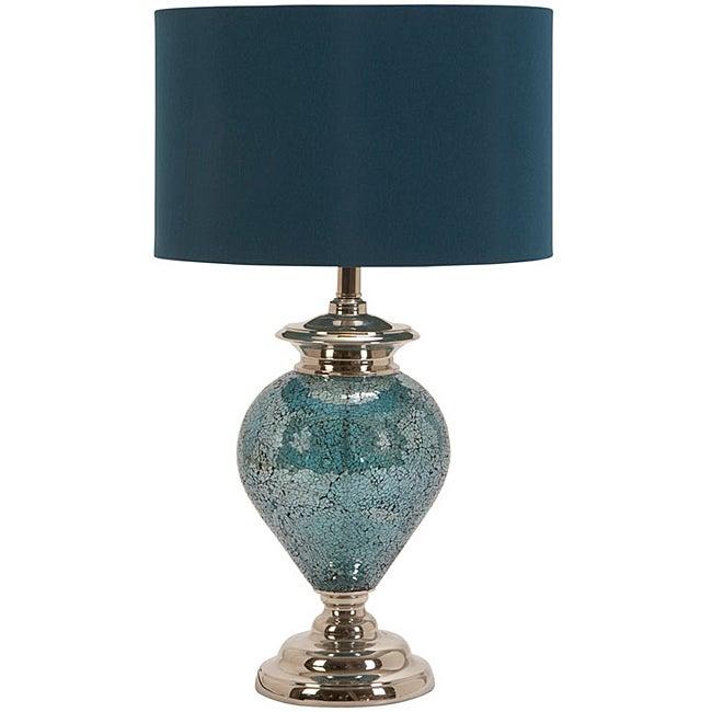 Casa Cortes Handcrafted Artisan Metal Mosaic Blue Table Lamp