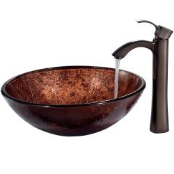 VIGO ADA-Compliant Mahogany Moon Glass Vessel Sink and Faucet Set in Oil-Rubbed Bronze