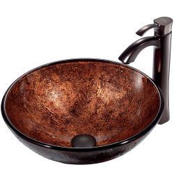 VIGO ADA-Compliant Mahogany Moon Glass Vessel Sink and Faucet Set in Oil-Rubbed Bronze