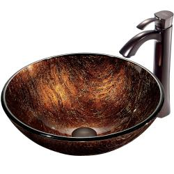 VIGO Kenyan Twilight Glass Vessel Sink and Faucet Set in Oil Rubbed Bronze