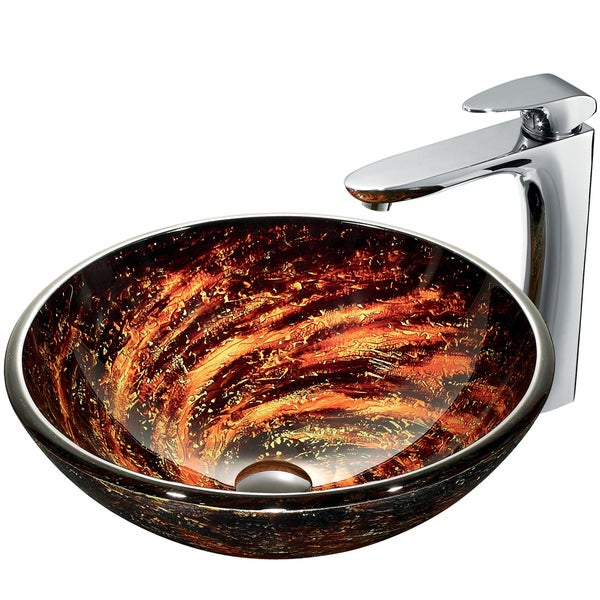 VIGO Northern Lights Stain-Resistant Glass Vessel Sink and Faucet Set in Chrome