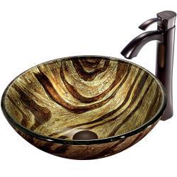 VIGO Zebra Scratch-Resistant Glass Vessel Sink and Faucet Set in Oil-Rubbed Bronze