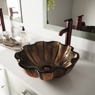 Walnut Shell Glass Vessel Bathroom Sink