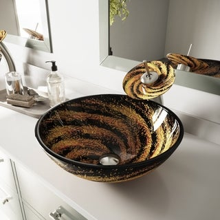 VIGO Northern Lights Glass Vessel Bathroom Sink