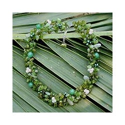 Multi-gemstone Pearl 'Lime Sensation' Necklace (3-4 mm) (Thailand)