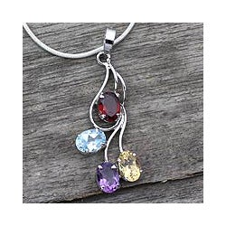 Sterling Silver 'Summer Bouquet' Multi-gemstone necklace (India)