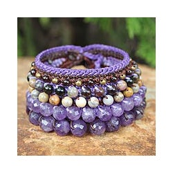 Handcrafted Multi-gemstone 'Bangkok Violet' Bracelet (Thailand)