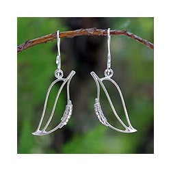 Sterling Silver 'Mango Leaf Abstraction' Earrings (Thailand)