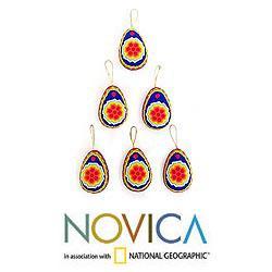 Set of 6 Beaded 'Sacred Peyote' Ornaments (Mexico)