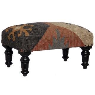 Handmade Kilim Rectangular Footstool (India)