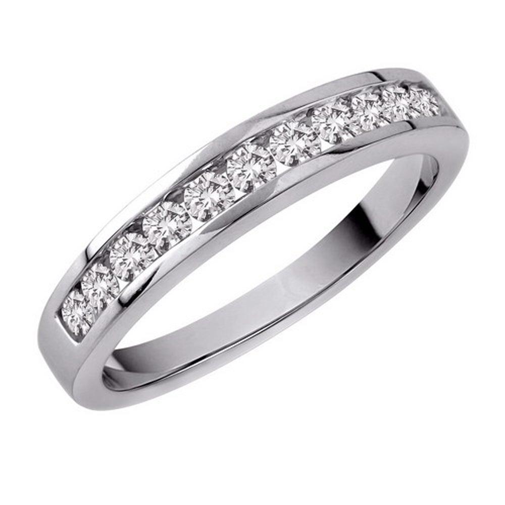 14k White Gold 1/4ct TDW Diamond Women's Wedding Eternity Band (Size 6.75)