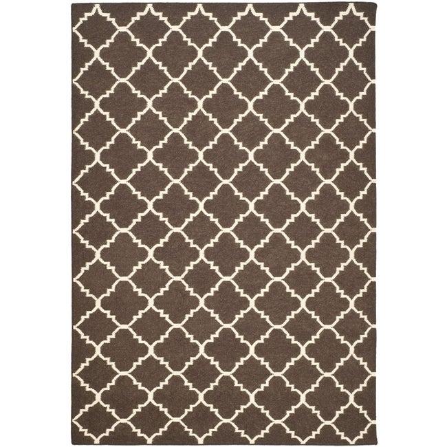Safavieh Hand-woven Moroccan Reversible Dhurrie Brown/ Ivory Wool Rug (10' x 14')