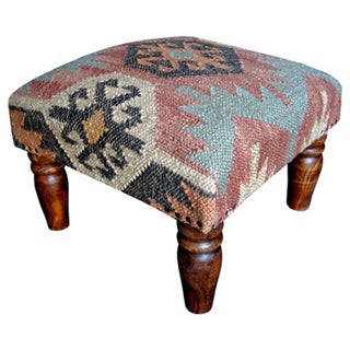 Herat Oriental Handmade Kilim Footstool (India)