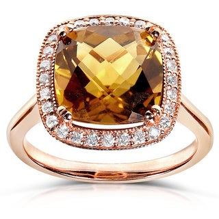 Annello 10k Rose Gold 1/5ct TDW Cinnamon Quartz and Diamond Ring (H-I, I1-I2)
