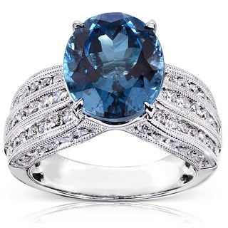 Annello 18k White Gold 1 1/5ct TDW Blue Topaz and Diamond Ring (H-I, I1-I2)