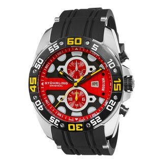 Stuhrling Original Men's Orbit Red-dial Swiss Quartz Watch
