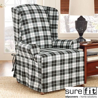 Sure Fit Soft Suede Plaid Wing Chair Slipcover