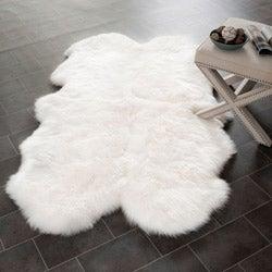 Safavieh Prairie Sheepskin/ Wool White Shag Rug (4' x 6')