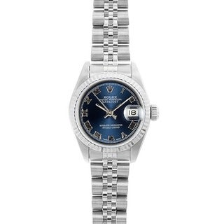 Pre-owned Rolex Women's Datejust White Gold Blue Roman Dial Watch